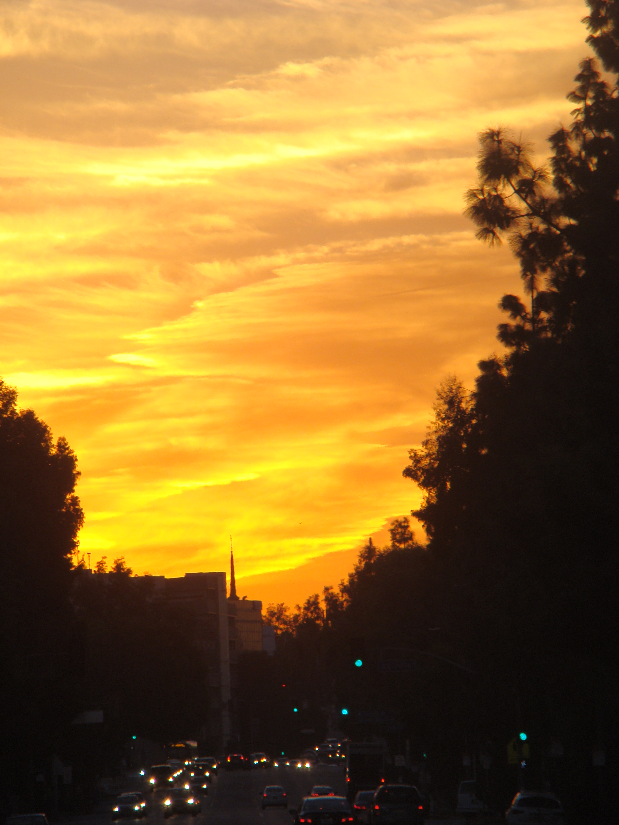 Stunning sunrise down Olympic Boulevard in Los Angeles.  Wherever you are, whatever you are, you are just beginning. …Michael Bernard Beckwith