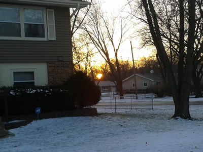 Sunrise peeks through the trees down the block from daughter Jess' house in Hoffman Estates, Illinois.   Creativity is allowing oneself to make mistakes, Art is knowing which ones to keep. …Scott Adams