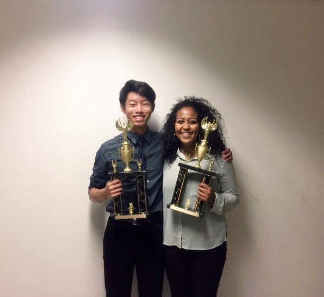 Oxford Academy's Jon Le (left) and Kalkidan Tewodros (right) securing first place