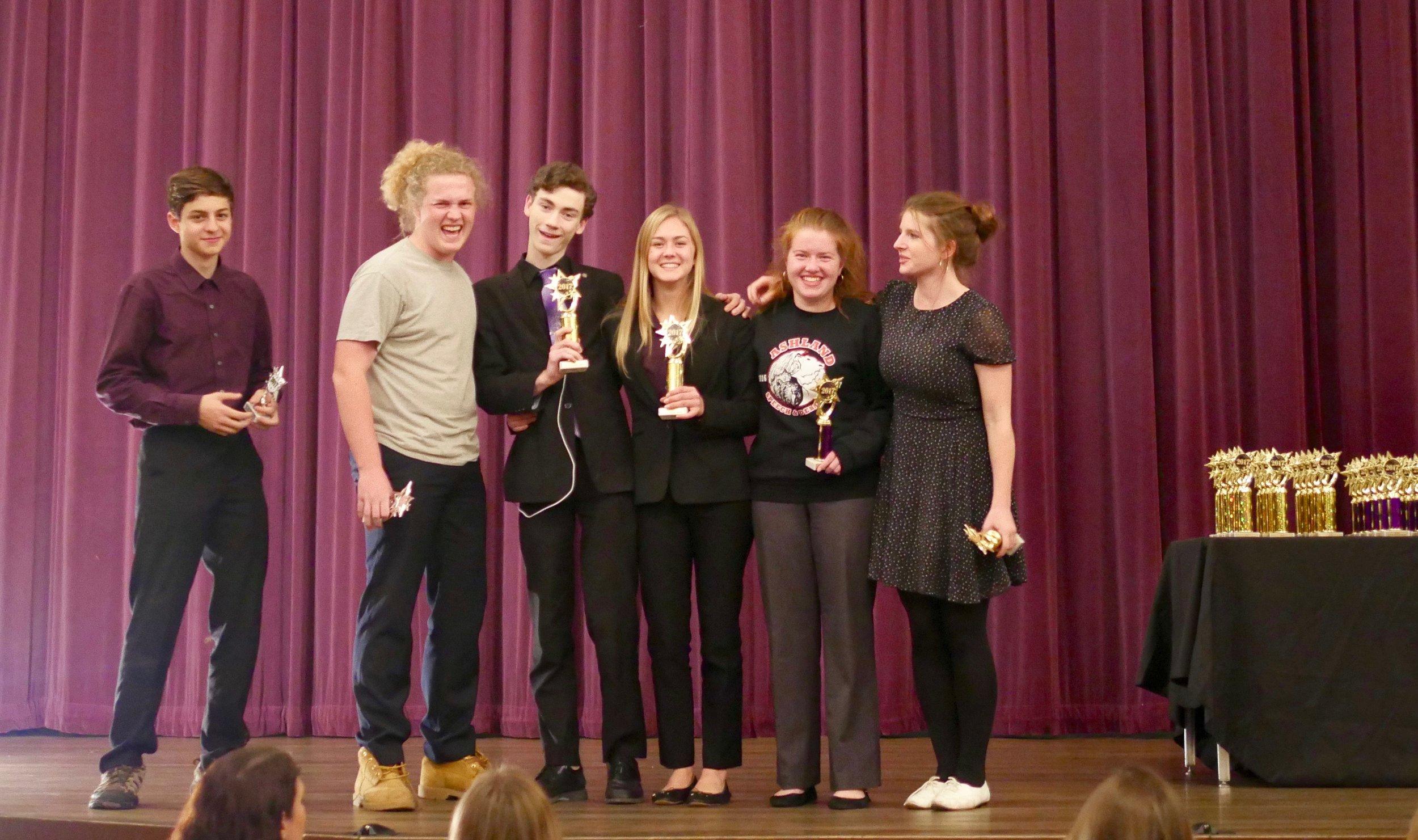 (from left) Jackson Rice, Daniel Noonan, Alex Webb, Hannah Doyle, Sarah Aaronson, and Maya Davis receive open Parli awards.