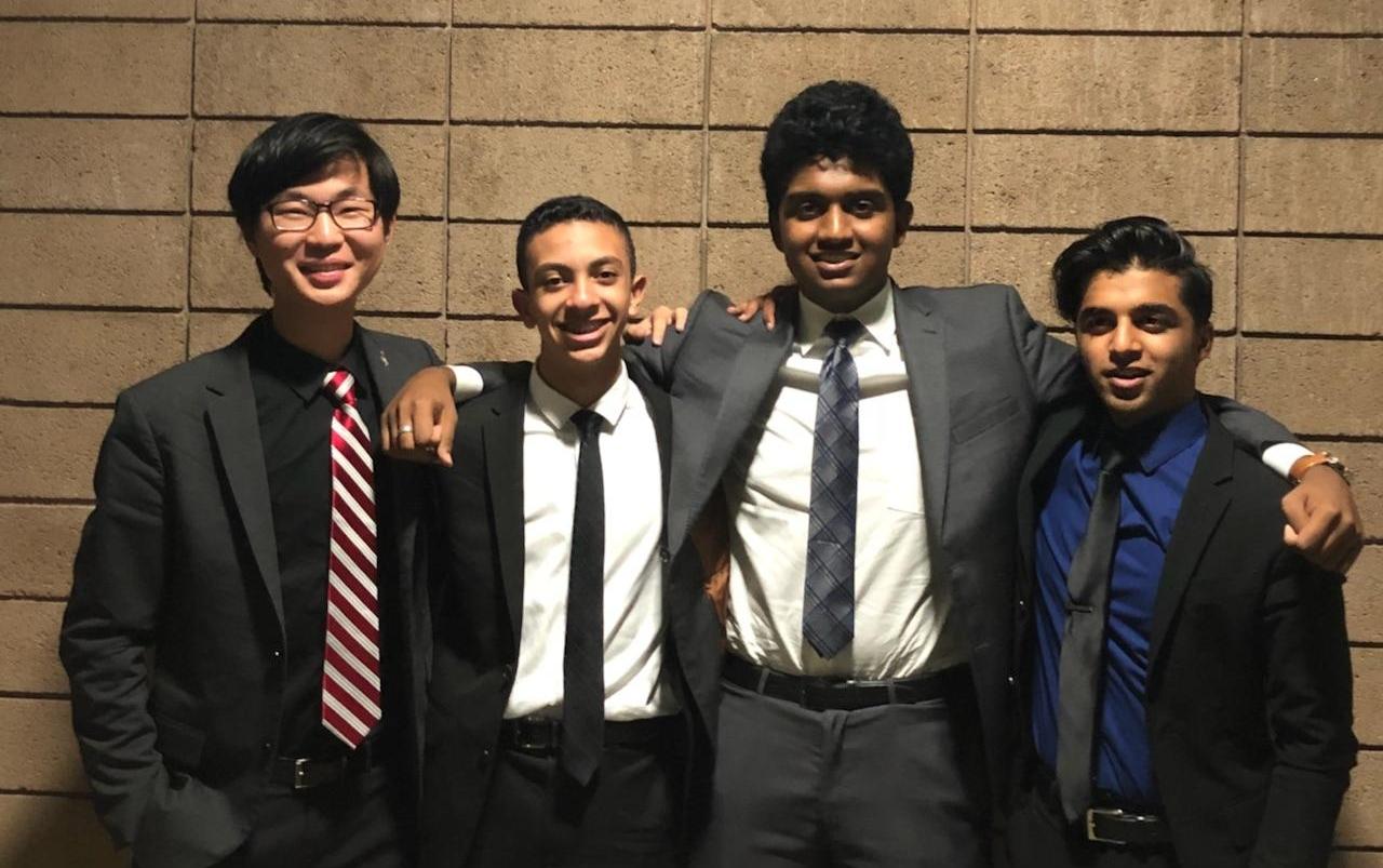Left to right: Ryan Nam & Joseph Naseib and Mohan Dasari & Ishaan Shrivastav pose before finals. Image courtesy of Redlands' Richard Hu.