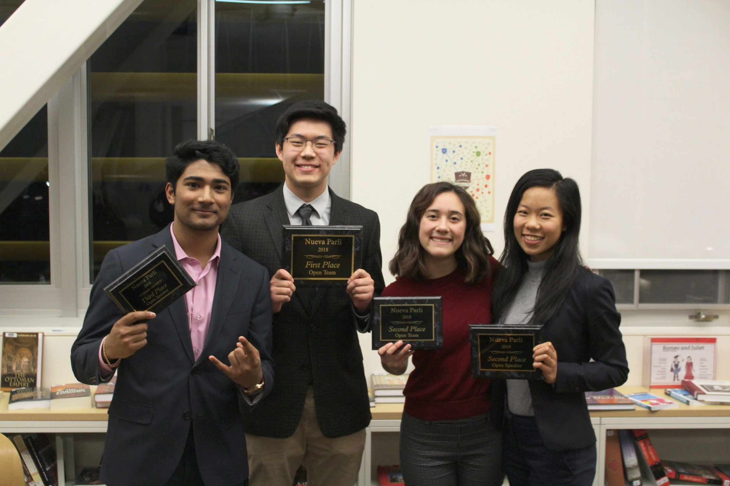 (left to right) Visht, Deng, Bonet & Yuan pose with awards after closing out