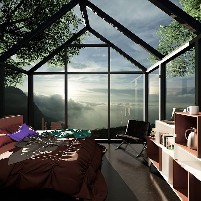 Glass bedroom view of the rising sun over the ocean. Morning coffee couldn't be more amazing. Clifftop views.  #glasshouse #sunrise #morningcoffee #stunningviews #dreamhome #goals #peaceful #amazinghomes #architecture #residentialdesign #bedroom