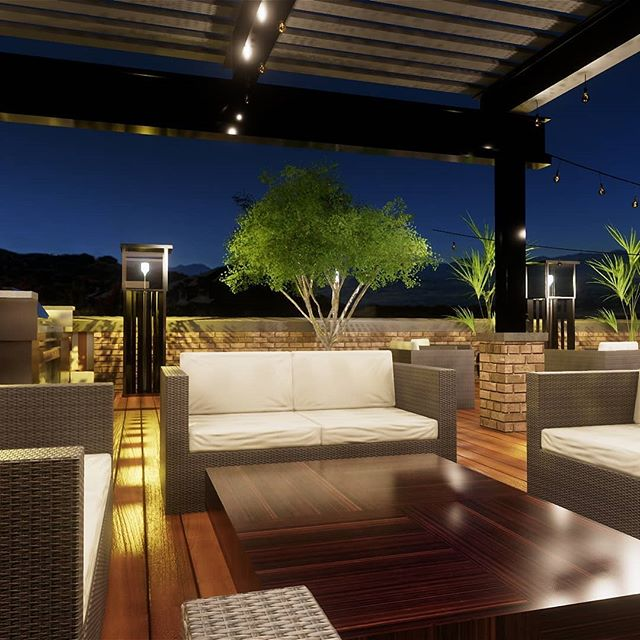 Rooftop patio. Swanky condo rooftop.  #rooftopdeck #nighttime #apartment #rendering #outdoorlighting #outdoorliving #architecture #residentialarchitecture