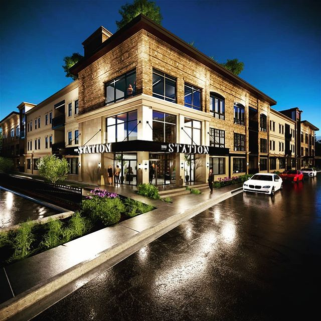 Nighttime rendering with wet street, after rain, for a new high end apartment being built in Salt Lake City. We offer design, rendering and branding services for commercial and residential projects!  #nighttime #rendering #apartment #condo #designservice #archtecturaldesign #residentialarchitecture #residentialdesign #citylife #sierraplans #rain