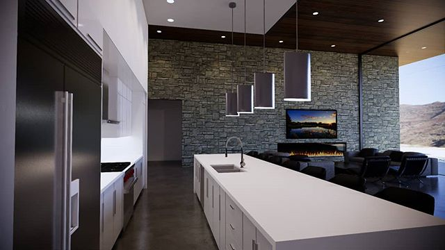 Amazing modern home we are designing for a client. Beautiful desert views from this open concept kitchen living space.  #modernarchitecture #dreamkitchen #modernhomes #contemporaryhomes #architecture #dreamkitchen #views #desertliving #sierraplans #vacationhome