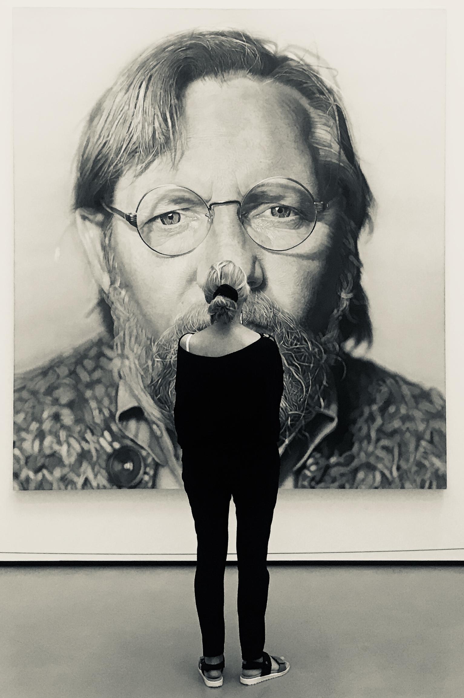 Art exhibit in Los Angeles featuring  Chuck Close.