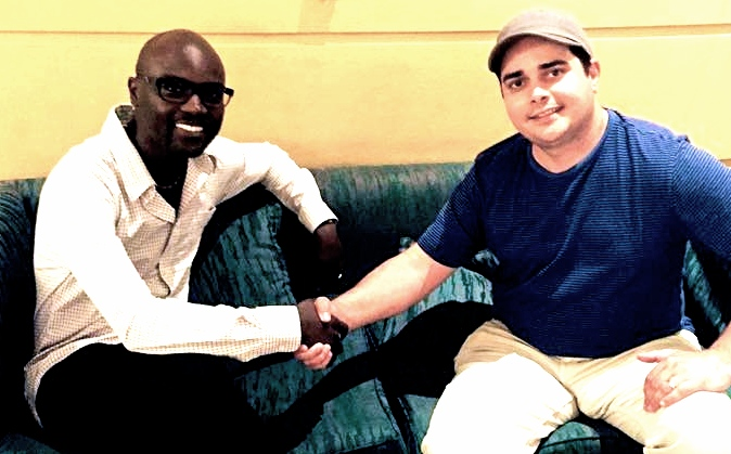 President of Atheists in Kenya, Harrison Mumia, with Mythicist Milwaukee co-founder and president, Sean Fracek.