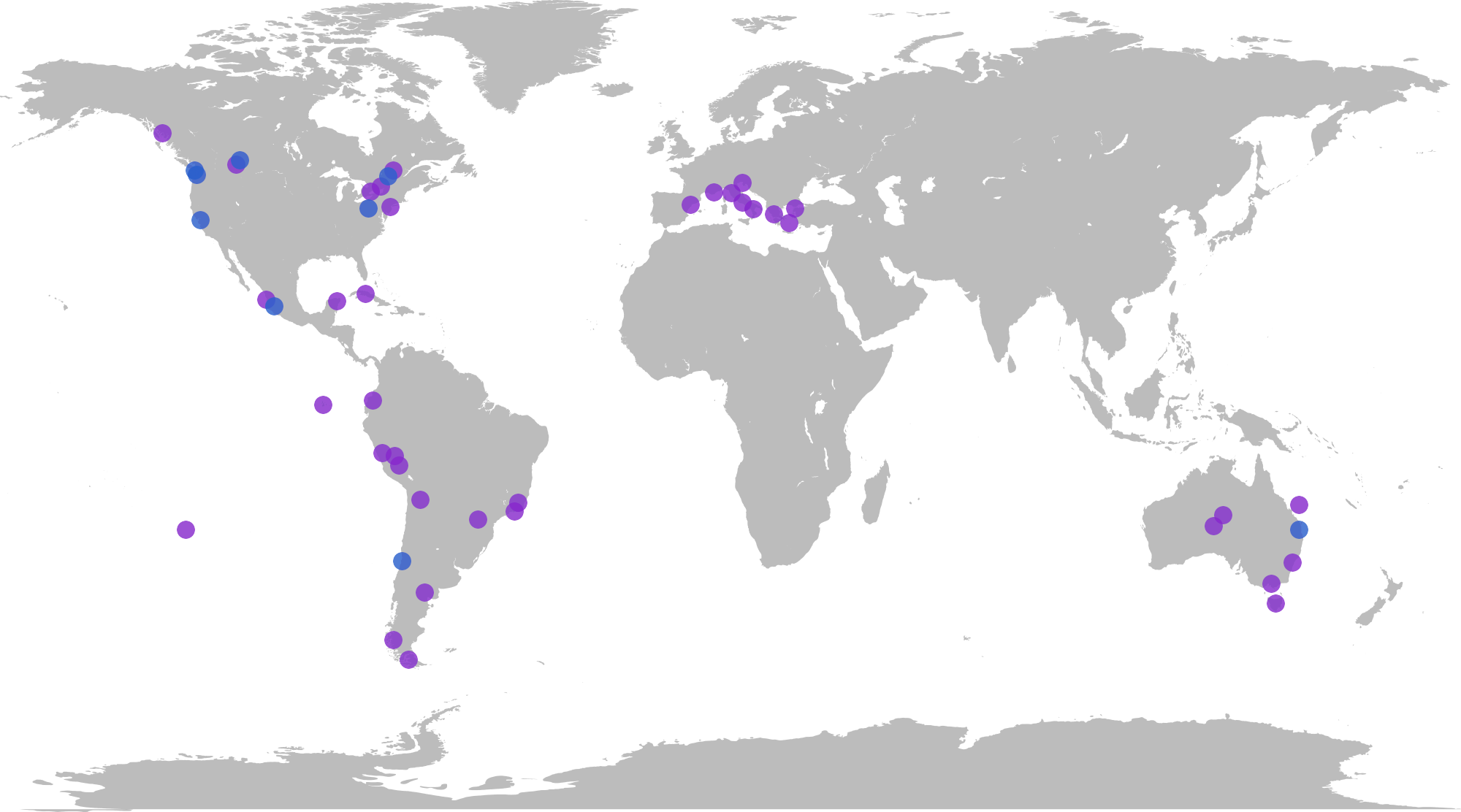 Places I have lived (blue) and travelled (purple).