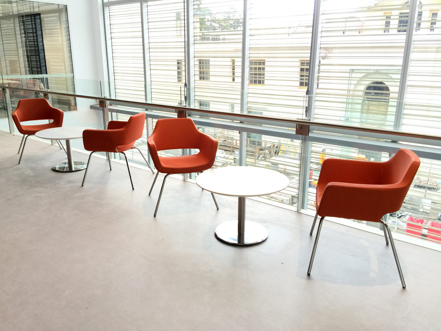 Chat chairs and Stylus Disc tables
