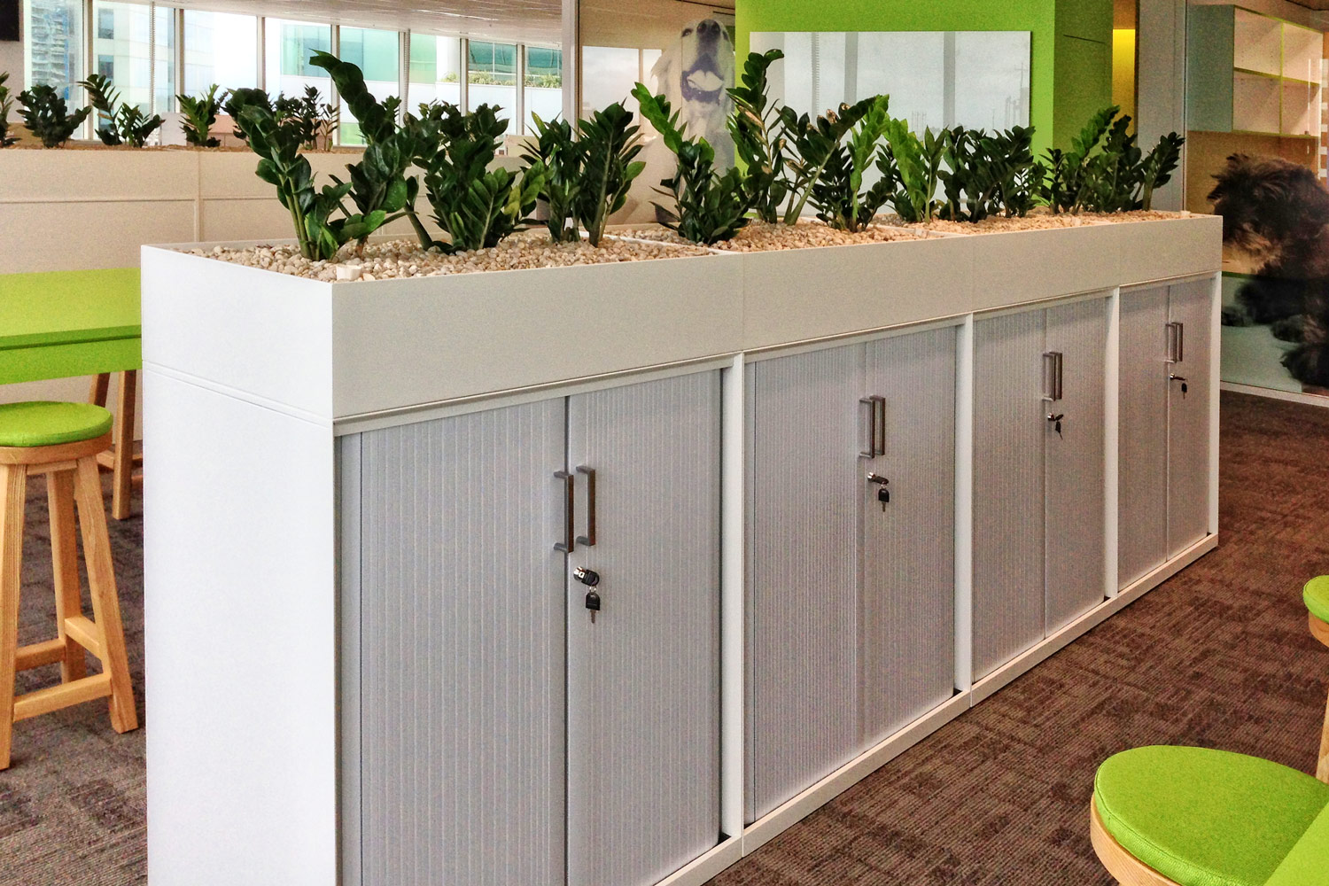 Smart tambour storage with planter boxes