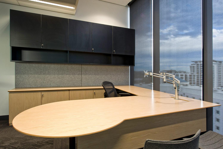 Executive joinery desk and storage, Beta chair KI dual monitor arms