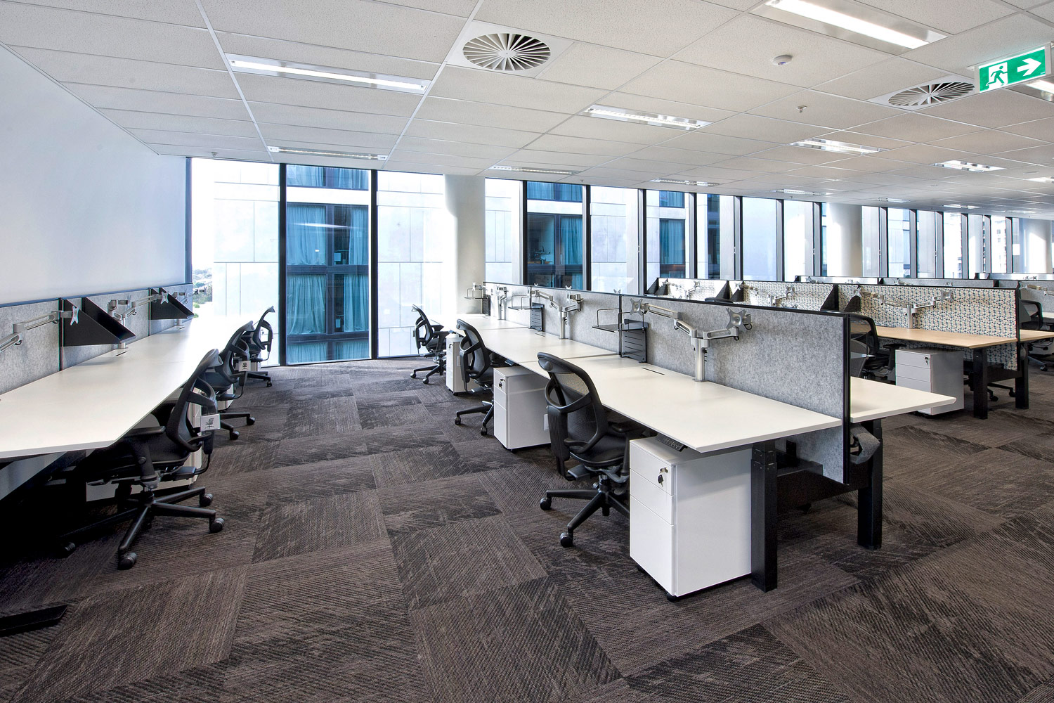 Actif workstations, Gamma chairs, desk mounted shelves, Easy mobile pedestals and KI dual monitor arms