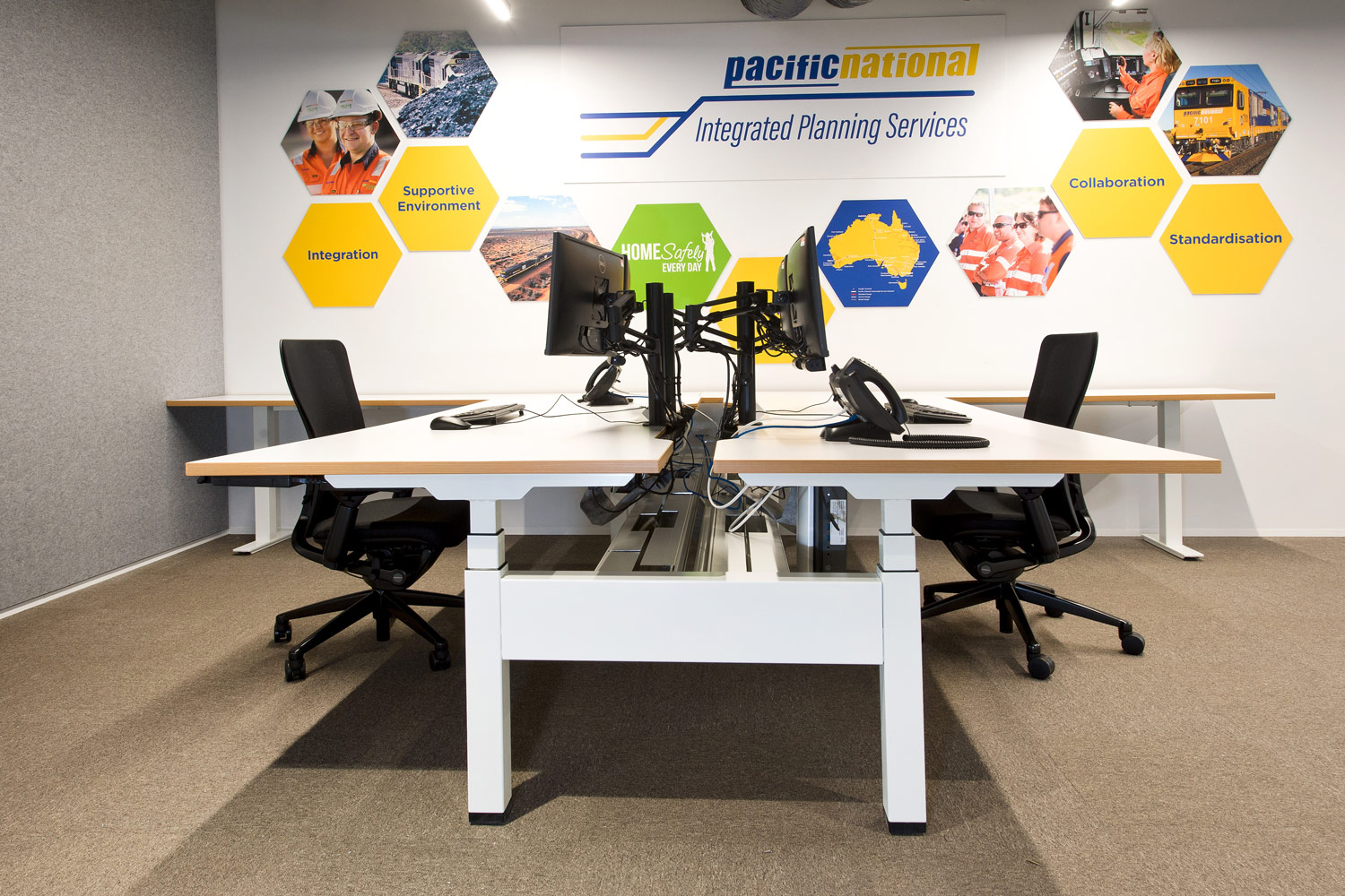 Actif three-stage, electric height-adjustable linear workstations