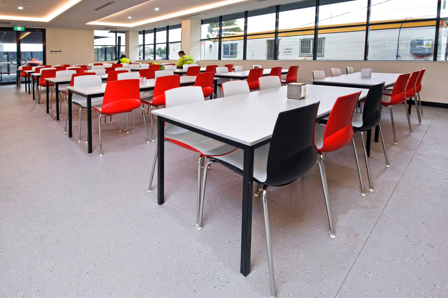 Neo chairs and steel frame lunch tables