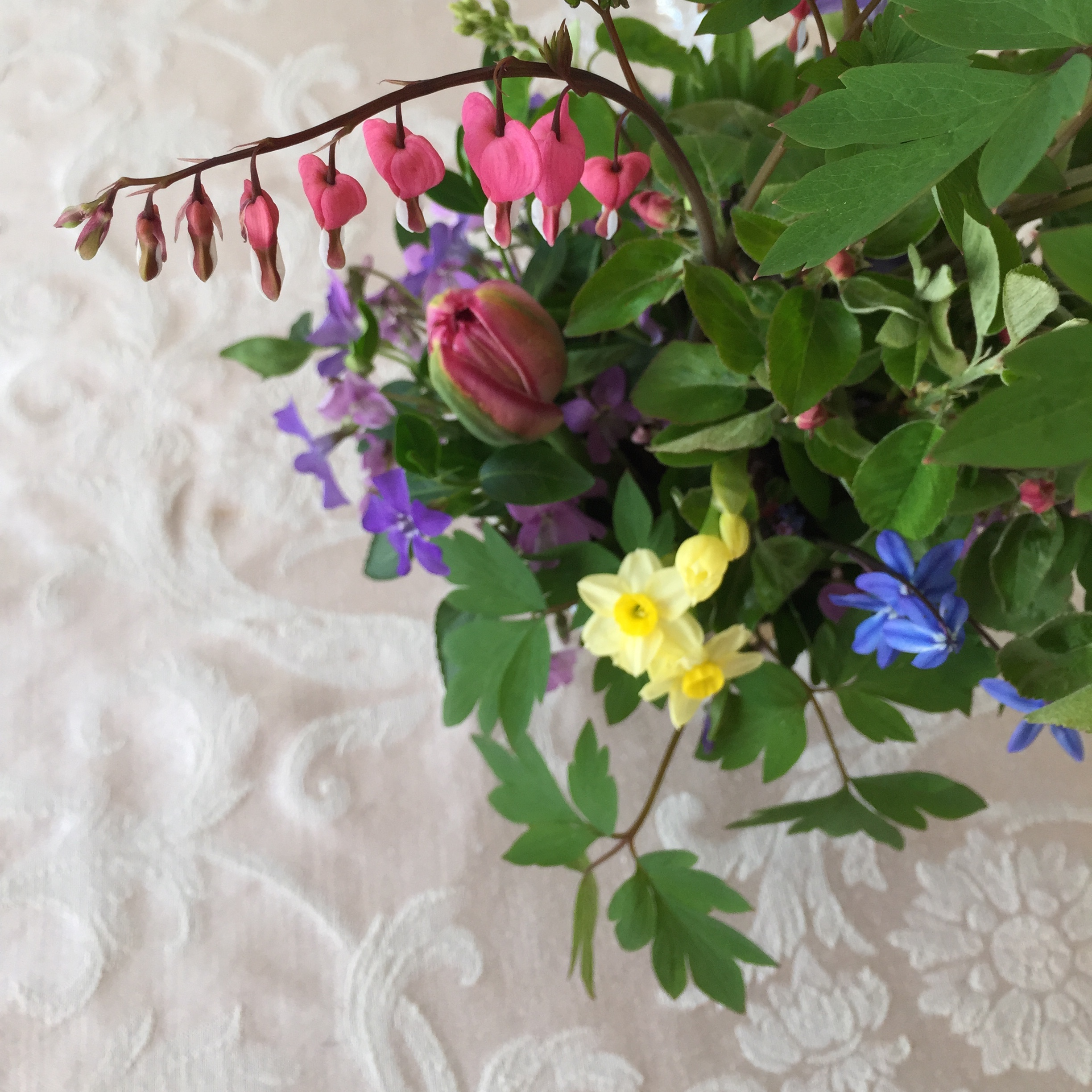 A small centerpiece featuring bleeding hearts, apple branches, 'Minnow' daffodils, blue scilla, vinca, violets, and the first'Angelique' tulip