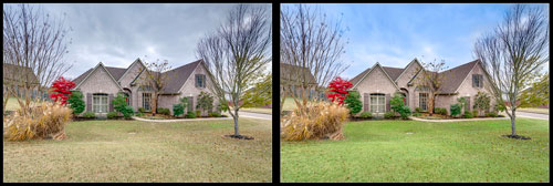 Before and After example of lawn and sky enhancement