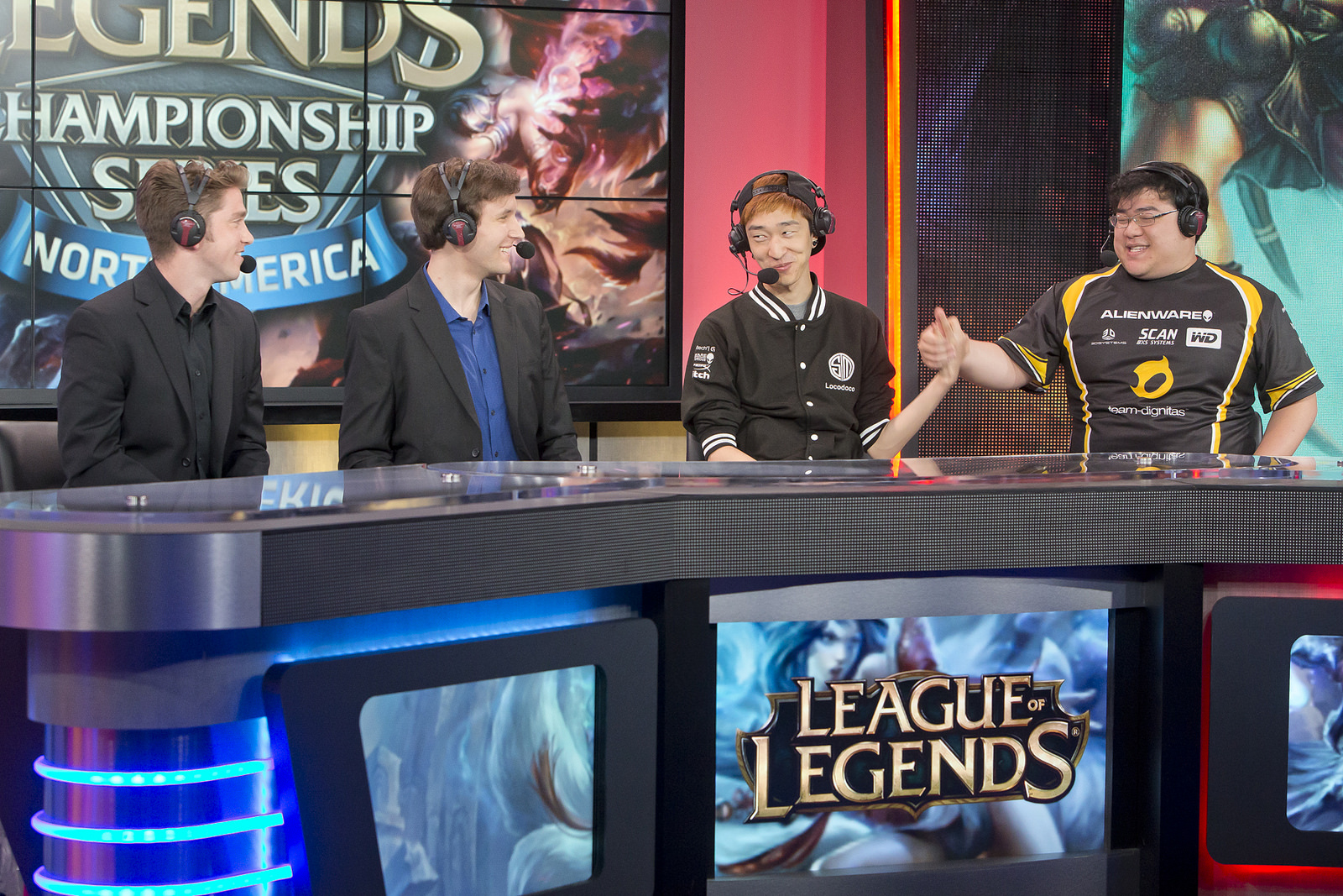Analysts Dash and Zirene speak with Locodoco and Scarra, coaches of TSM and Dignitas respectively.  source