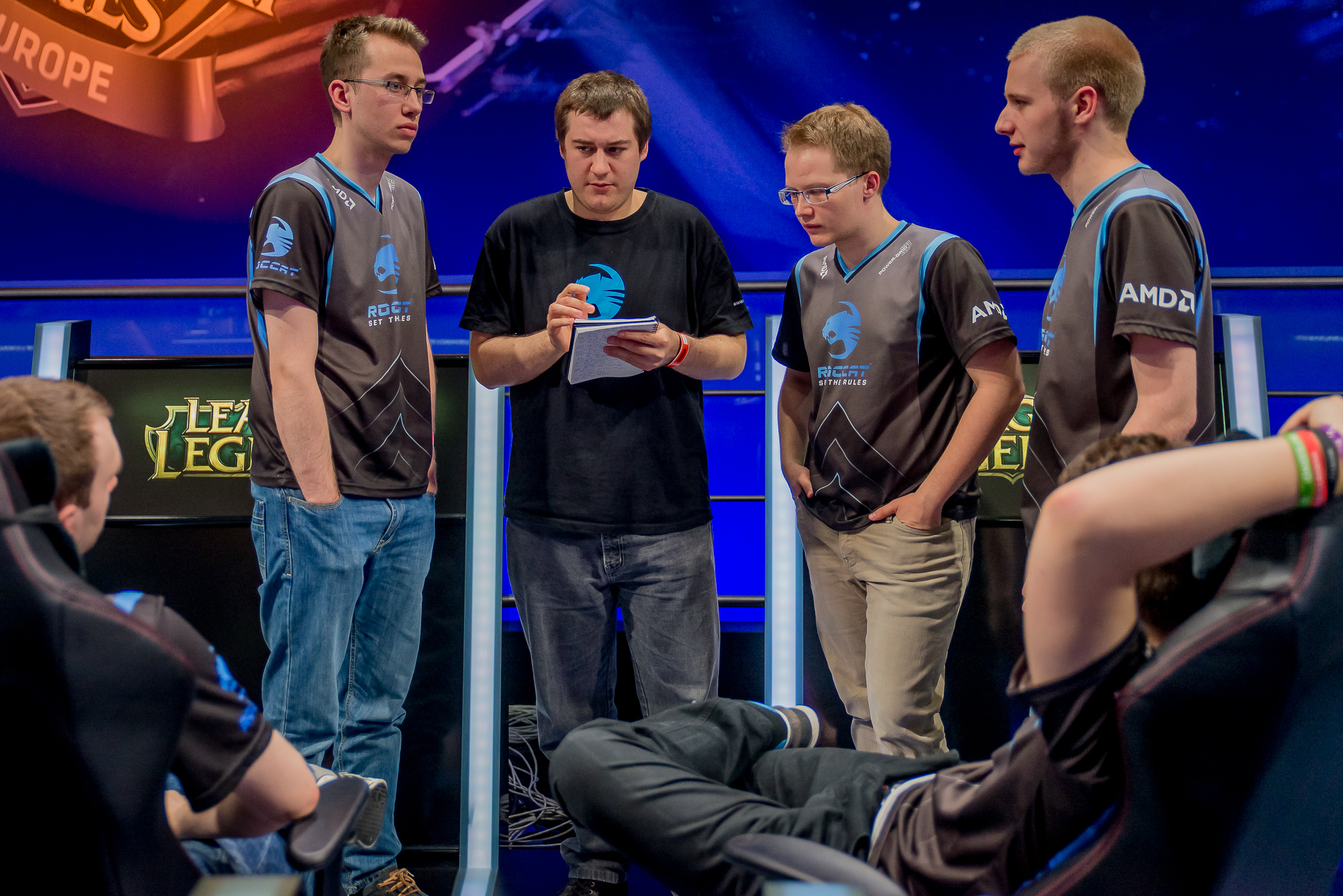 ROCCAT's analyst helping the team prepare for the next game in their epic series against Fnatic at Gamescom 2014.  source