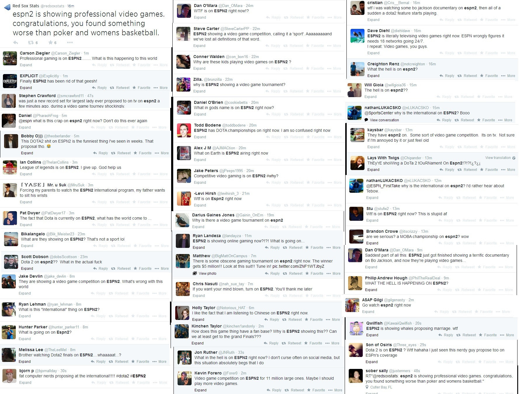 Negative reactions to the International 2 coverage on ESPN. [ Click to enlarge]  source