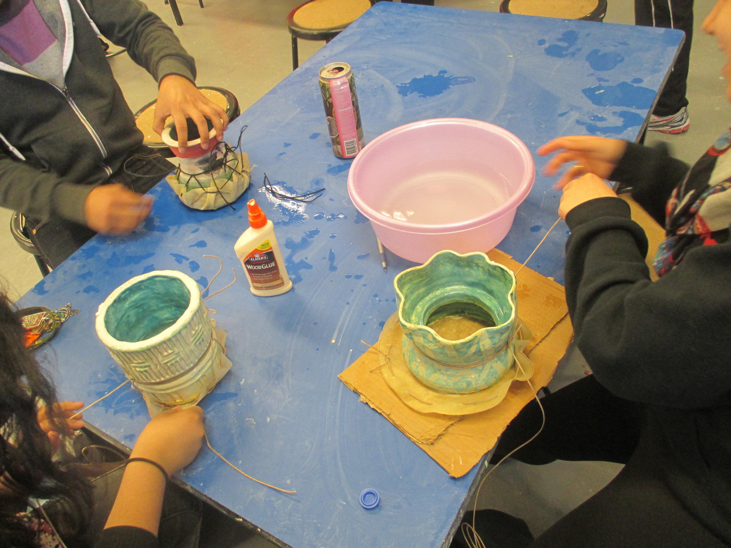 students making drums, lane tech high school .JPG