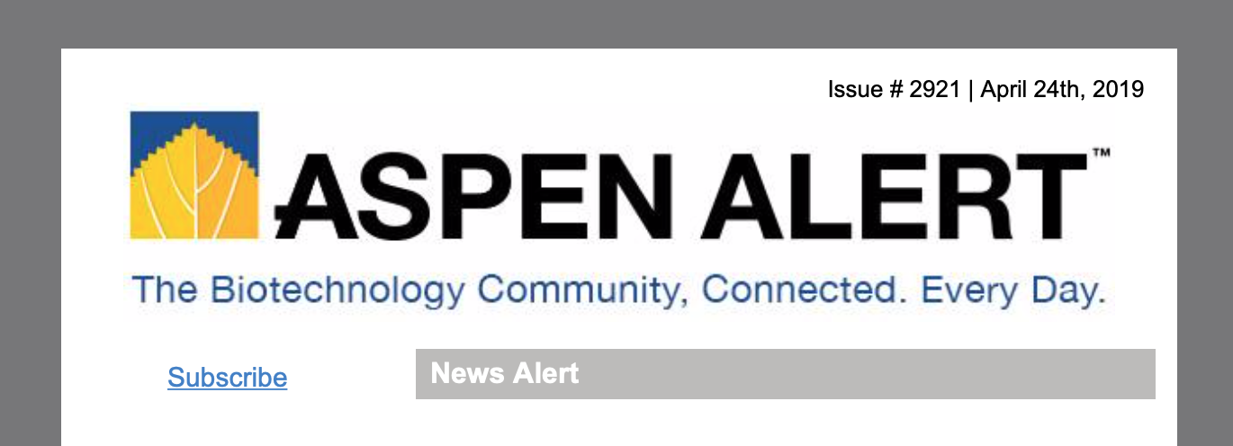 Redesigned Aspen Alert Masthead.  Clean, organized. Building continuity through the brand.