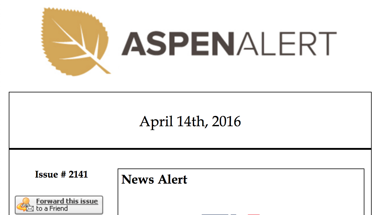 Before: Original Aspen Brook Masthead.  Disorganized and disjointed. The newsletter logo was completely different from the one displayed on their website which posted the exact same content daily.