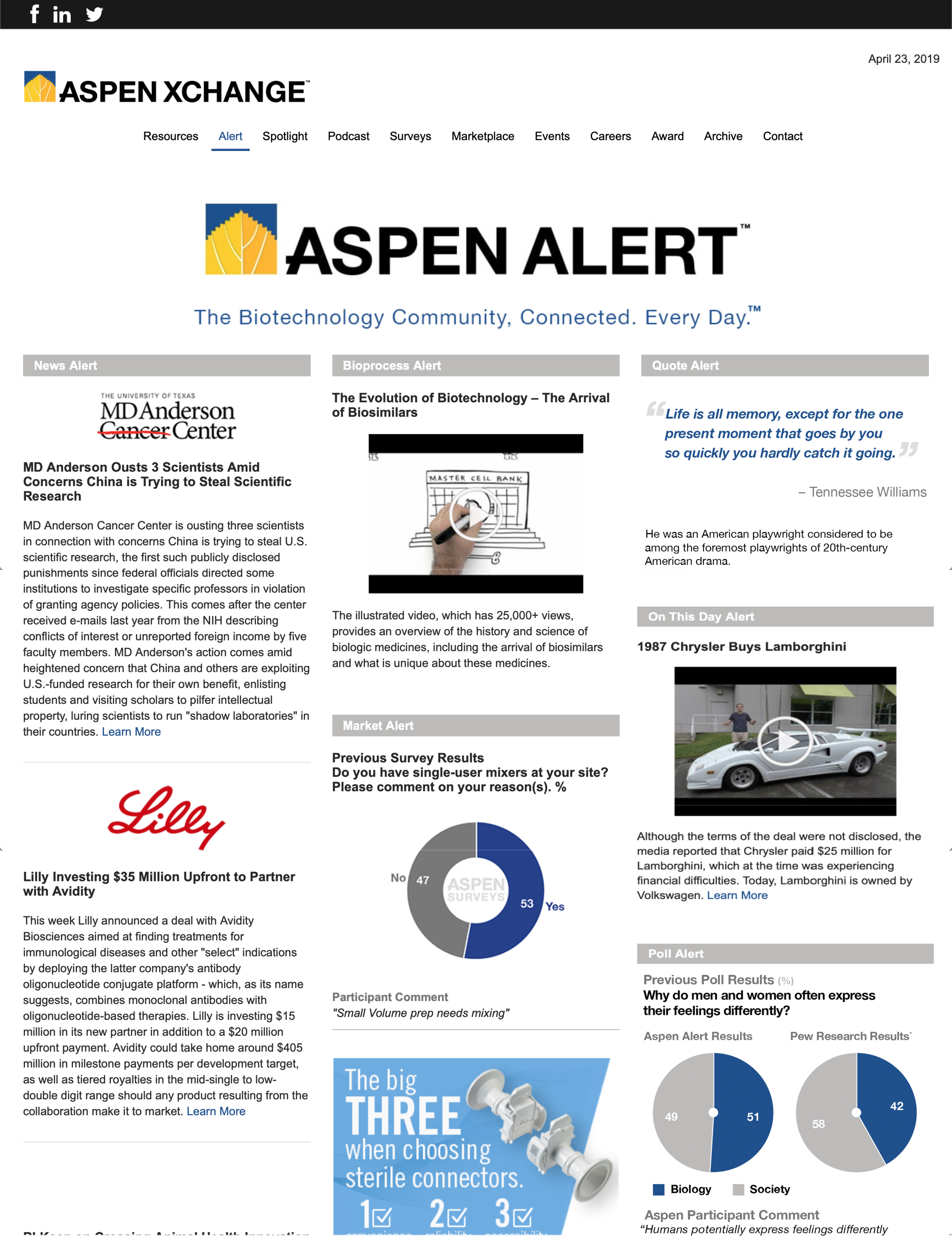 The Aspen Alert newsletter content as it appears within the Aspen Xchange. News and other articles update daily to match the latest email edition.