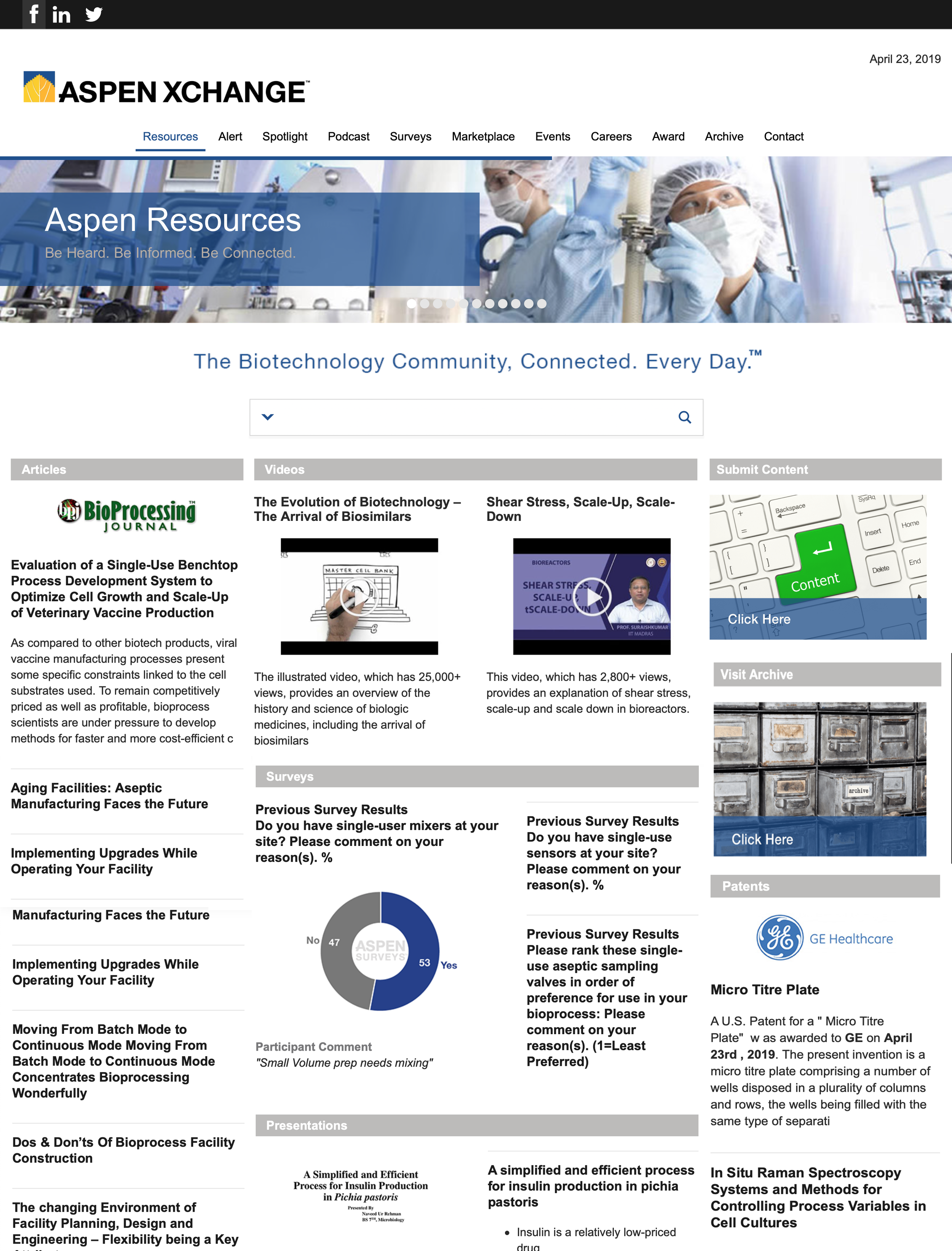 Front Page of the Aspen Xchange, a news and information site for the biotech community