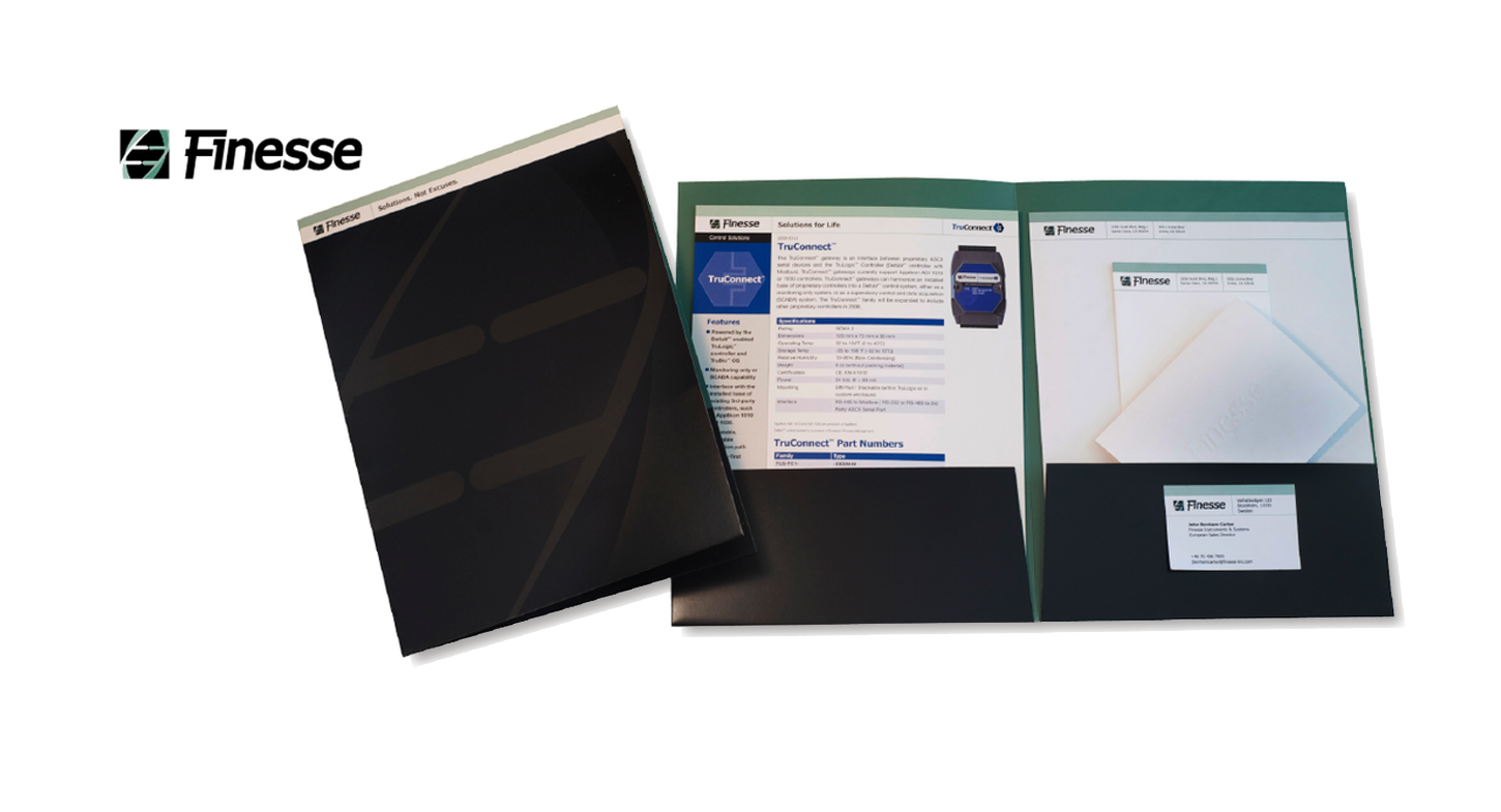 Finesse Solutions  Presentation folder, stationery, business cards and data sheets