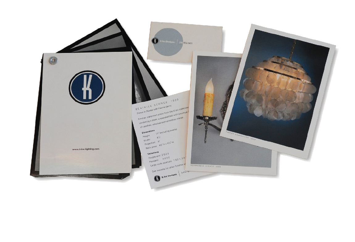 K-inc Lighting  Modular easy-assemble spec book/brochure made from print-on-demand postcards