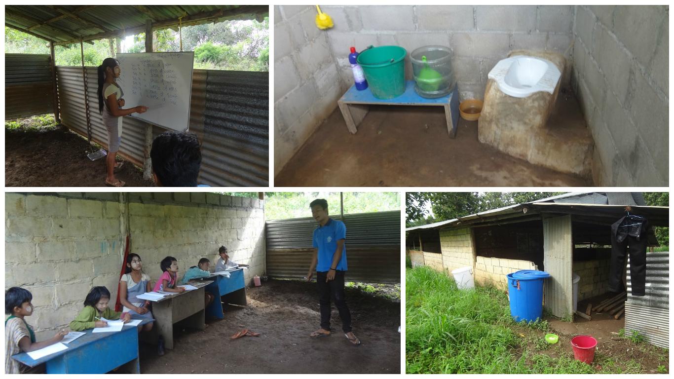 在 Aung Win 校長的規劃下,修繕了校舍、廁所,並添購了白板、課桌椅和儲水統。