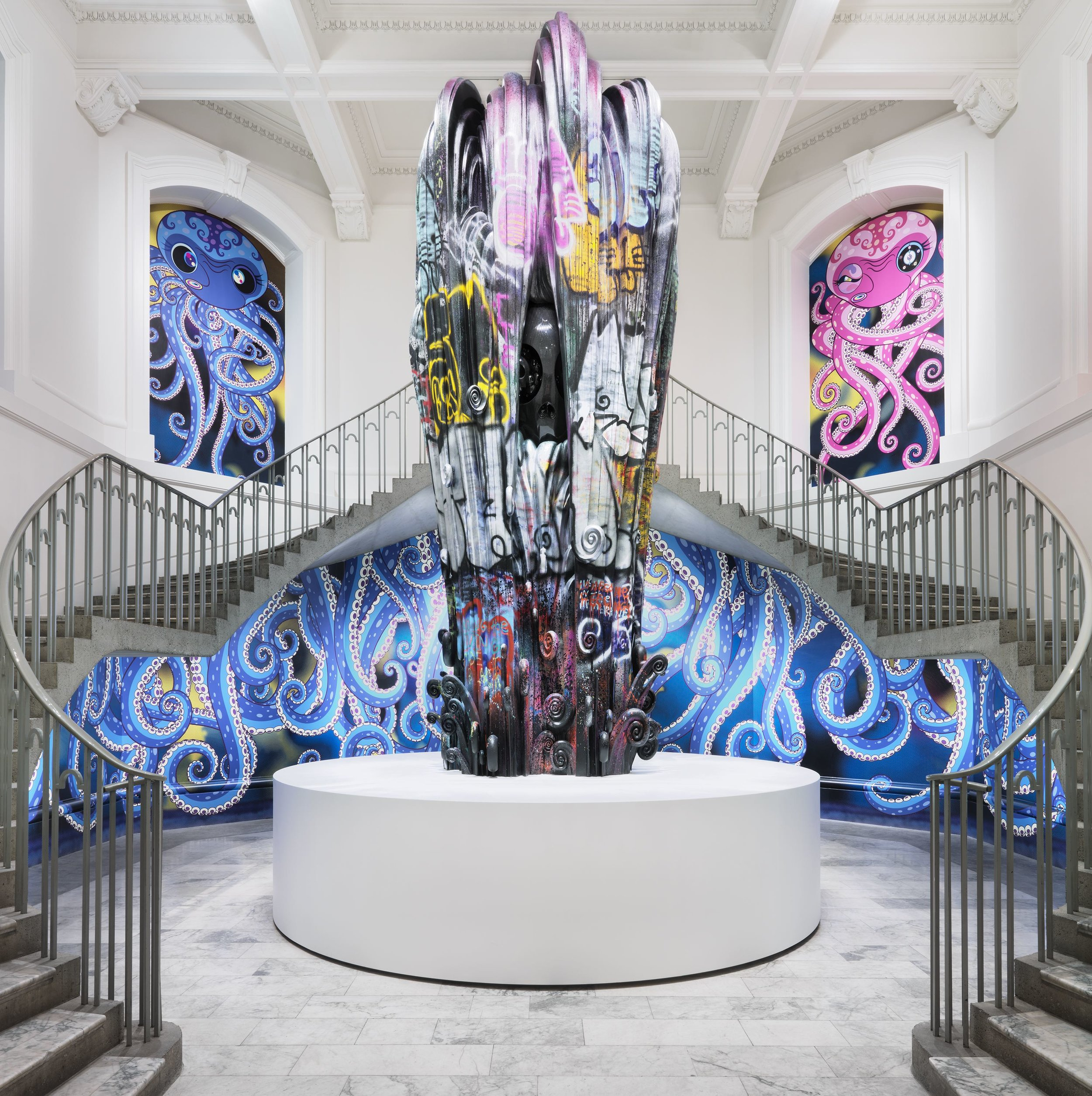 Installation view of   Takashi Murakami: The Octopus Eats Its Own Leg  , exhibition at the Vancouver Art Gallery, February 3 to May 6, 2018, with  Chakras Open and I Drown Under the Waterfall of Life , 2017, in the rotunda, © Takashi Murakami/Kaikai Kiki Co., Ltd. All Rights Reserved, Photo: Rachel Topham, Vancouver Art Gallery