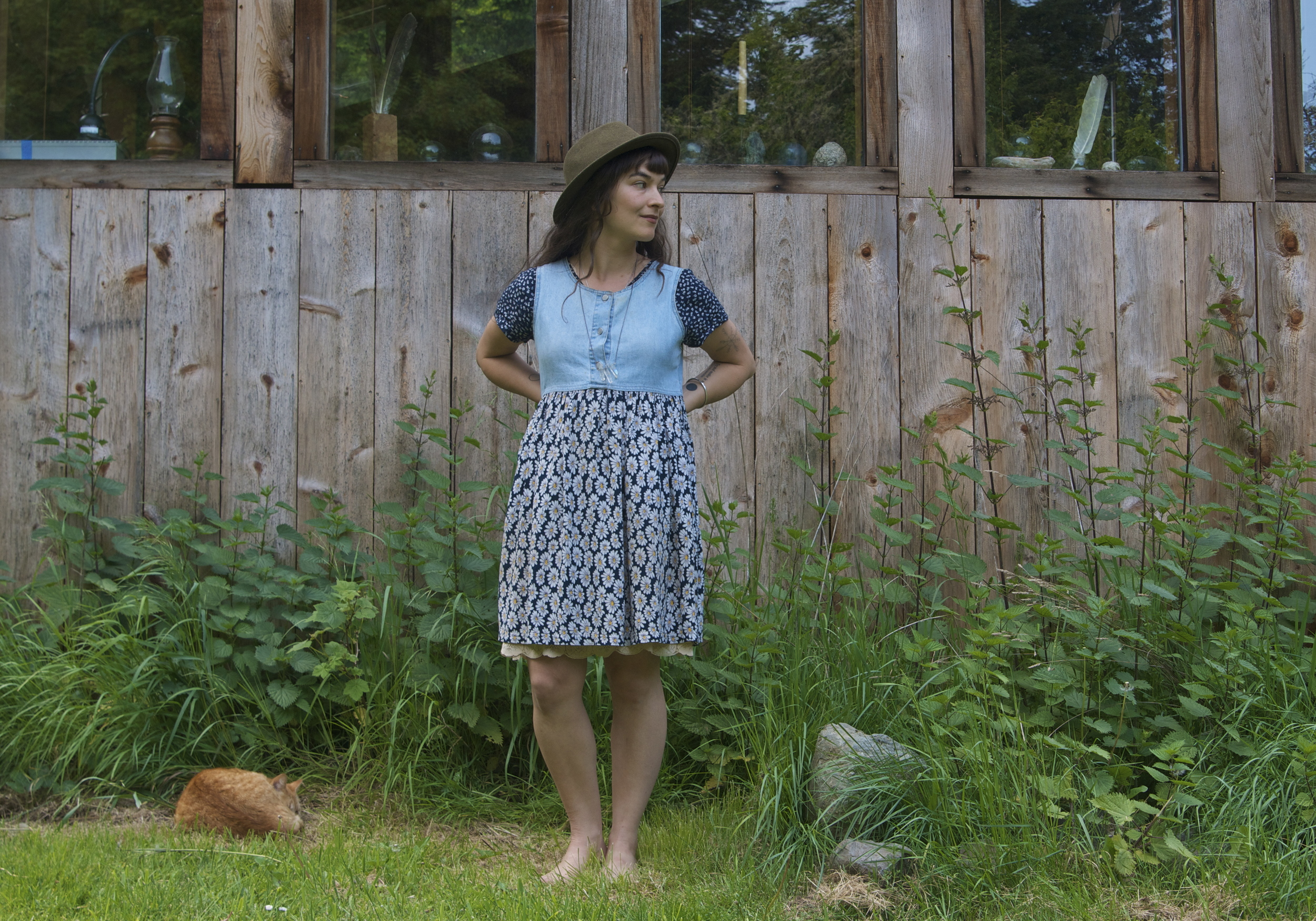 Dress- vintage, Etsy, 2014/ top- vintage,gift from my sister, 2014/ hat-thrifted, 2014