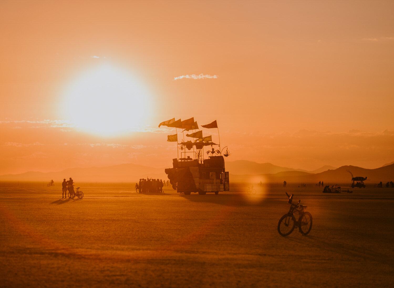 sunrise over the playa at burning man