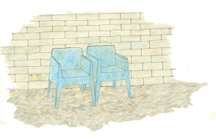 Illustration of two chairs outside one of our houses by Anastasia Doniants