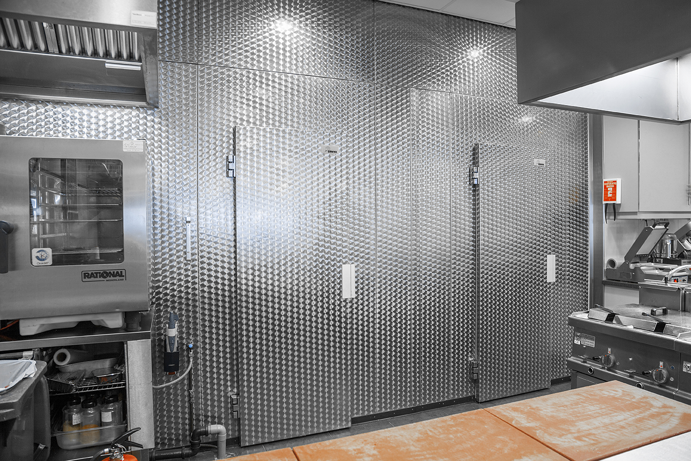 Custom made Smeva cold rooms showing a decorative stainless steel finish