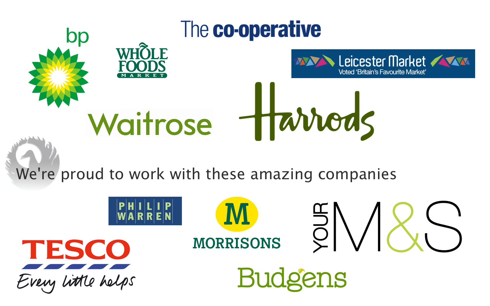 A graphic showing the logos of our customers including The Co-operative, Waitrose, Whole Foods, Harrods, Tesco, Budgens, M&S and Morrisions.