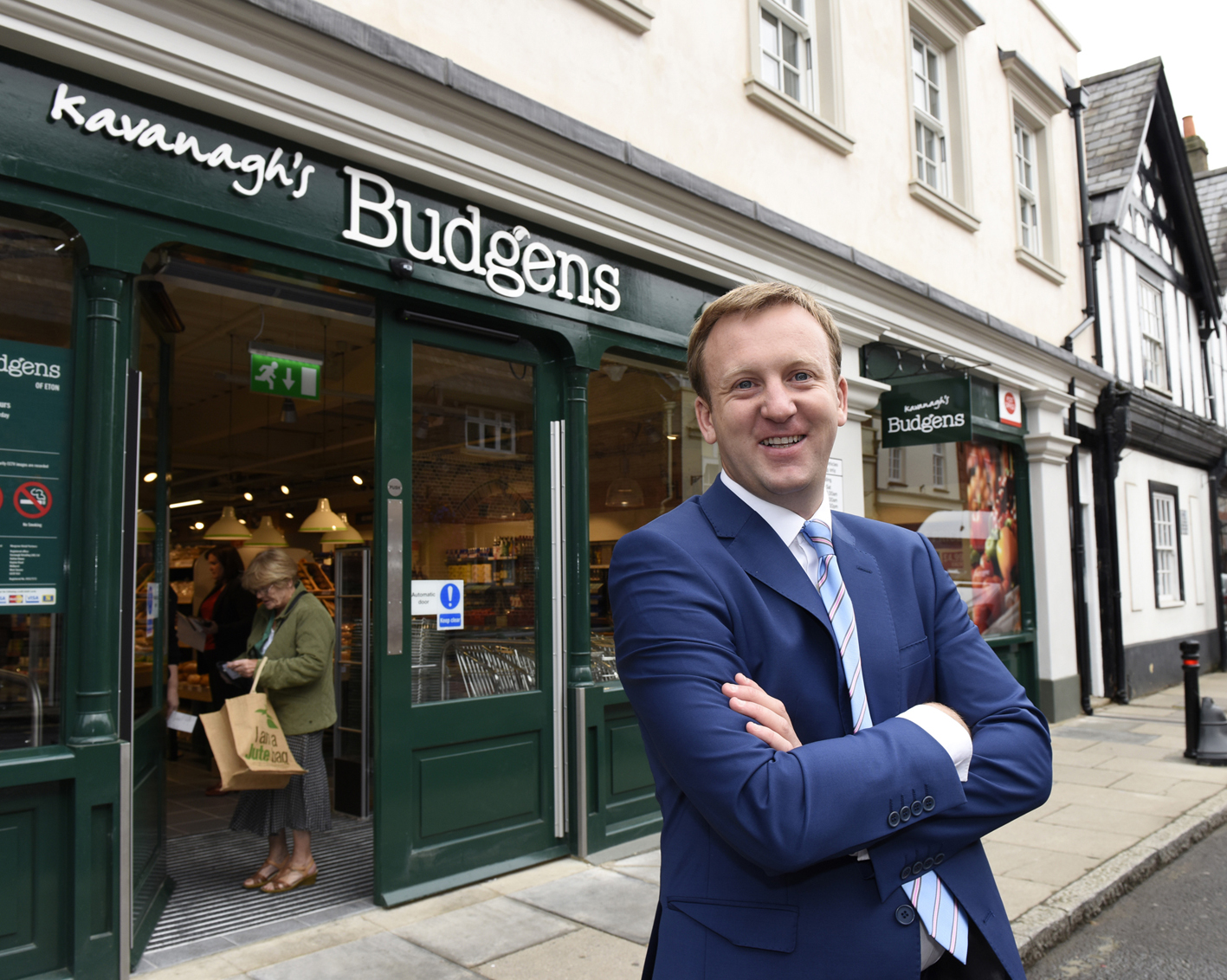 Noel Kavanagh on the opening day of his new Budgens store in Eton