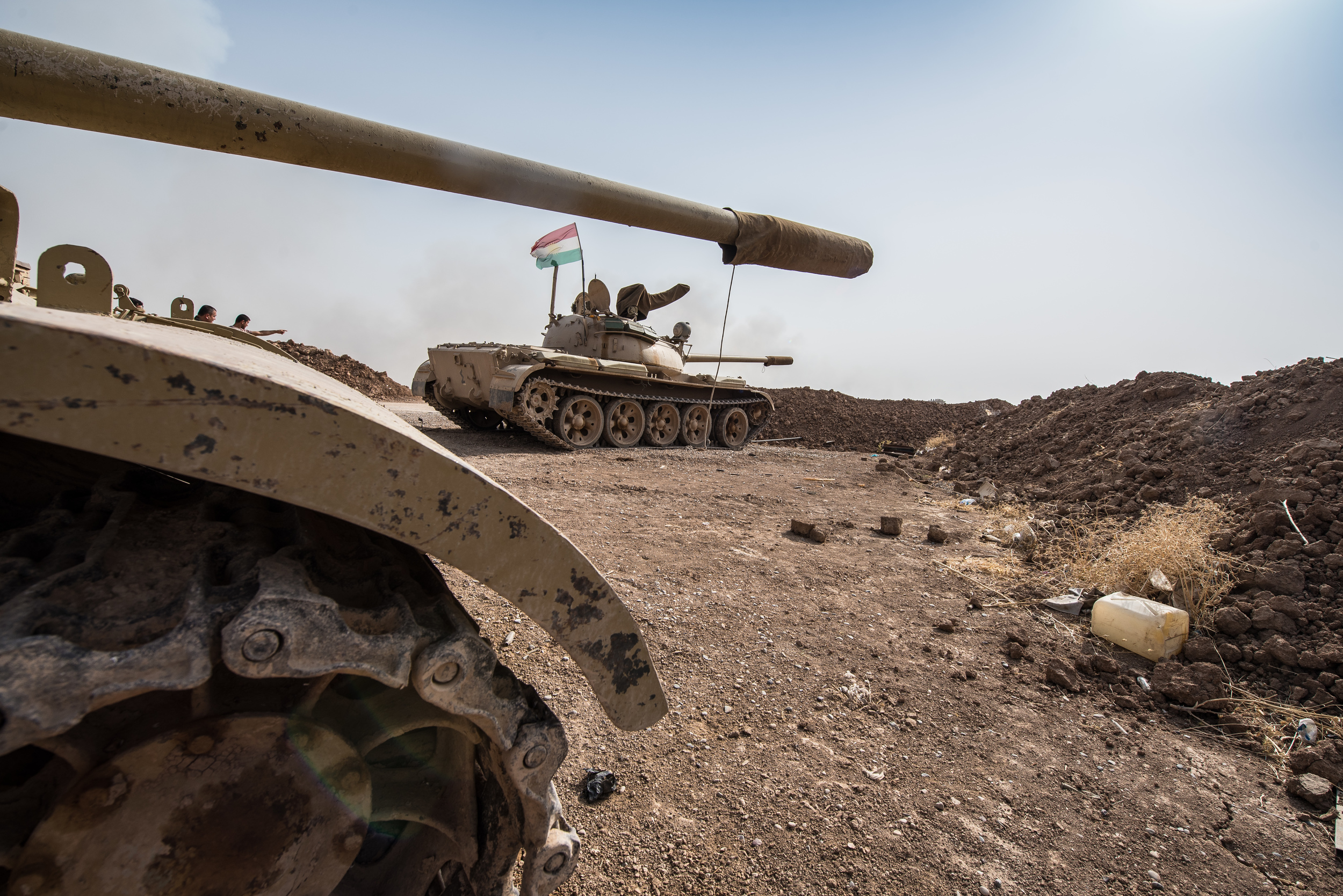 Two soviet made T-54 tanks on the Mosul frontline.