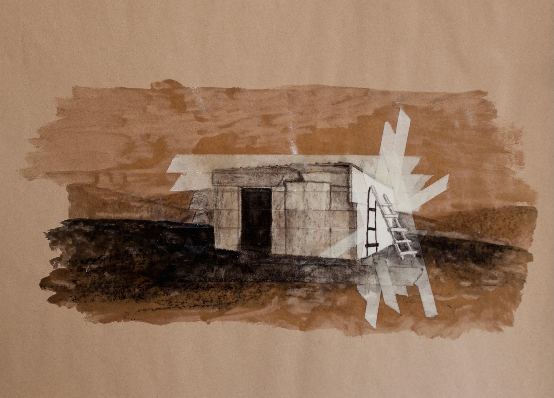 Megeron_Charcoal, Lacquer, Acrylic & Maskingtape on Brown Paper_30X40cm_2011.jpg