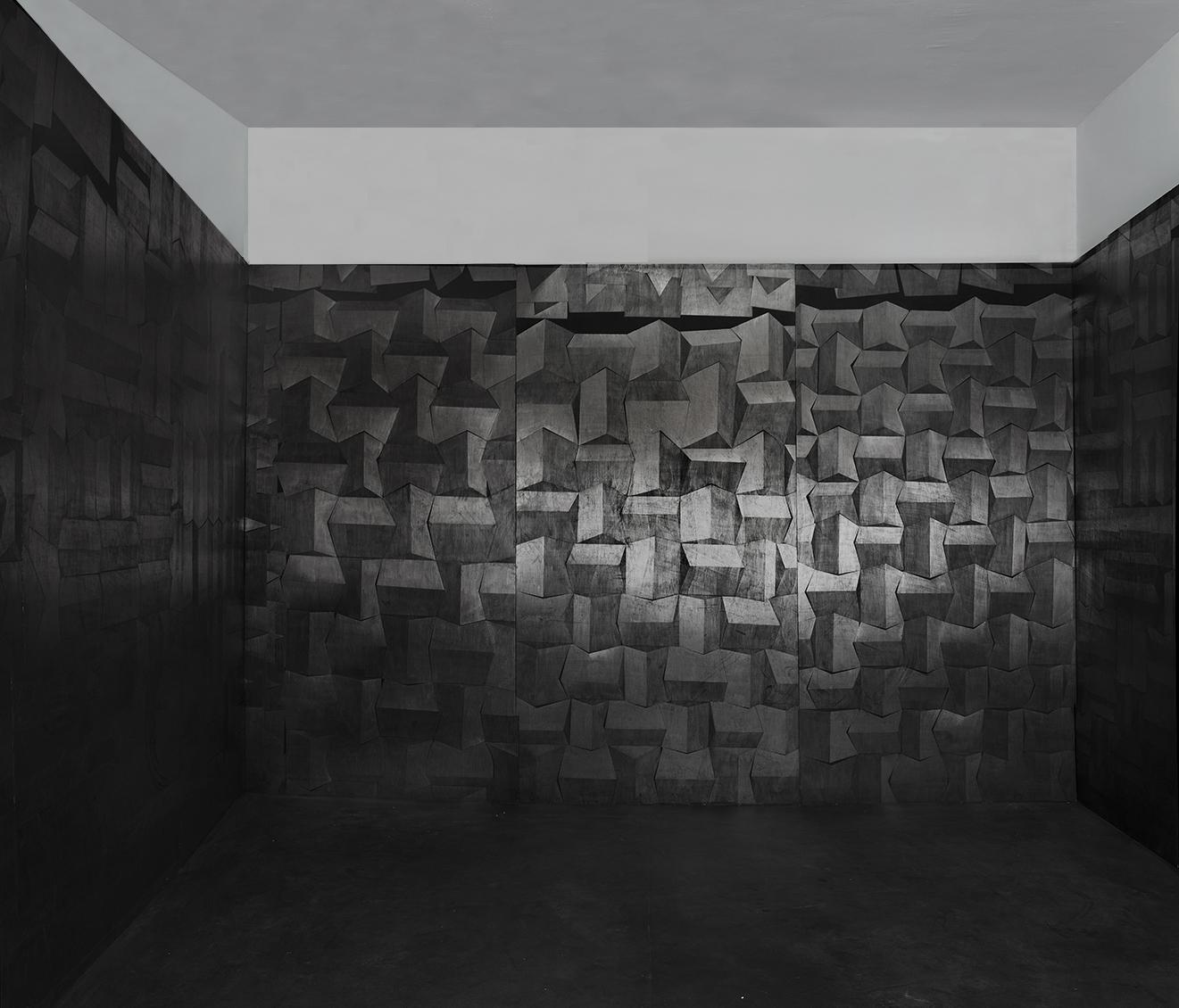 Hado, פחם וגרפיט על עץ,  מיצב, 2014.jpg