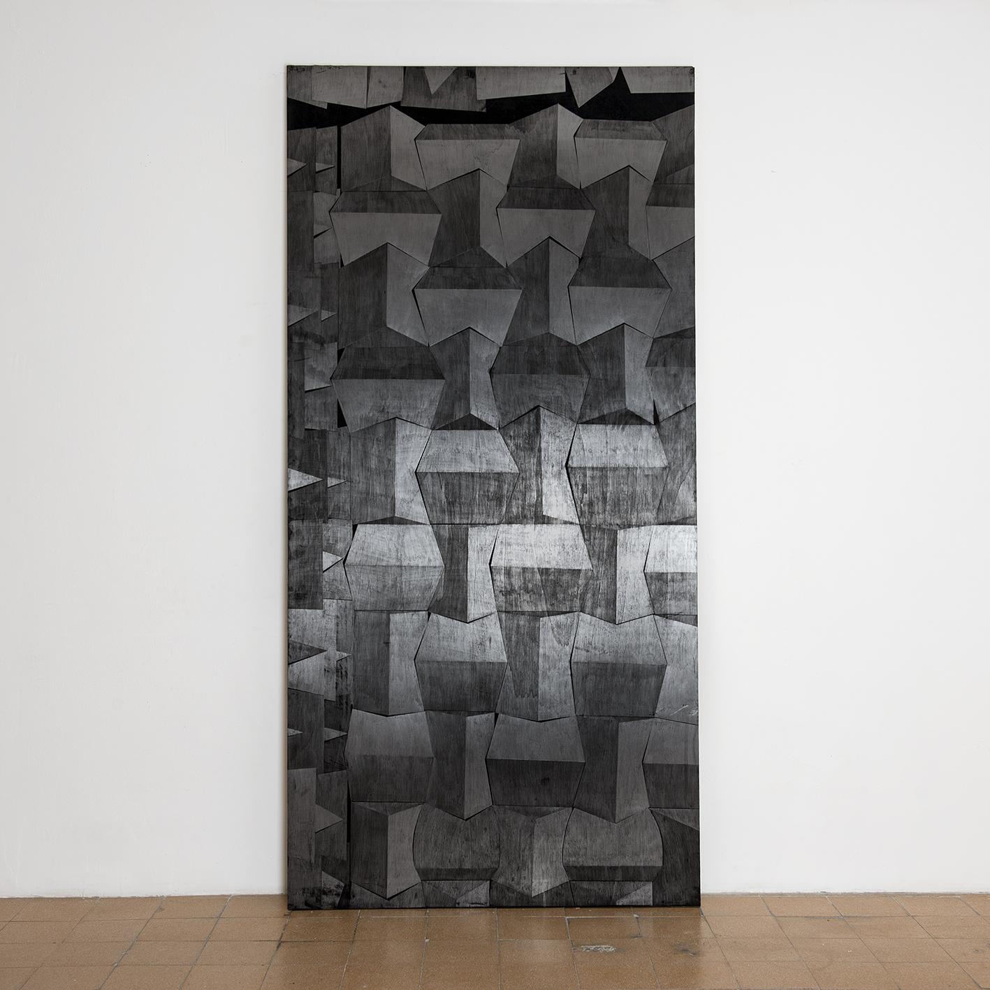 מתוך הסדרה 'קירות אקוסטים', פחם וגרפיט על עץ, 250X122 סמ 2014 (3).jpg