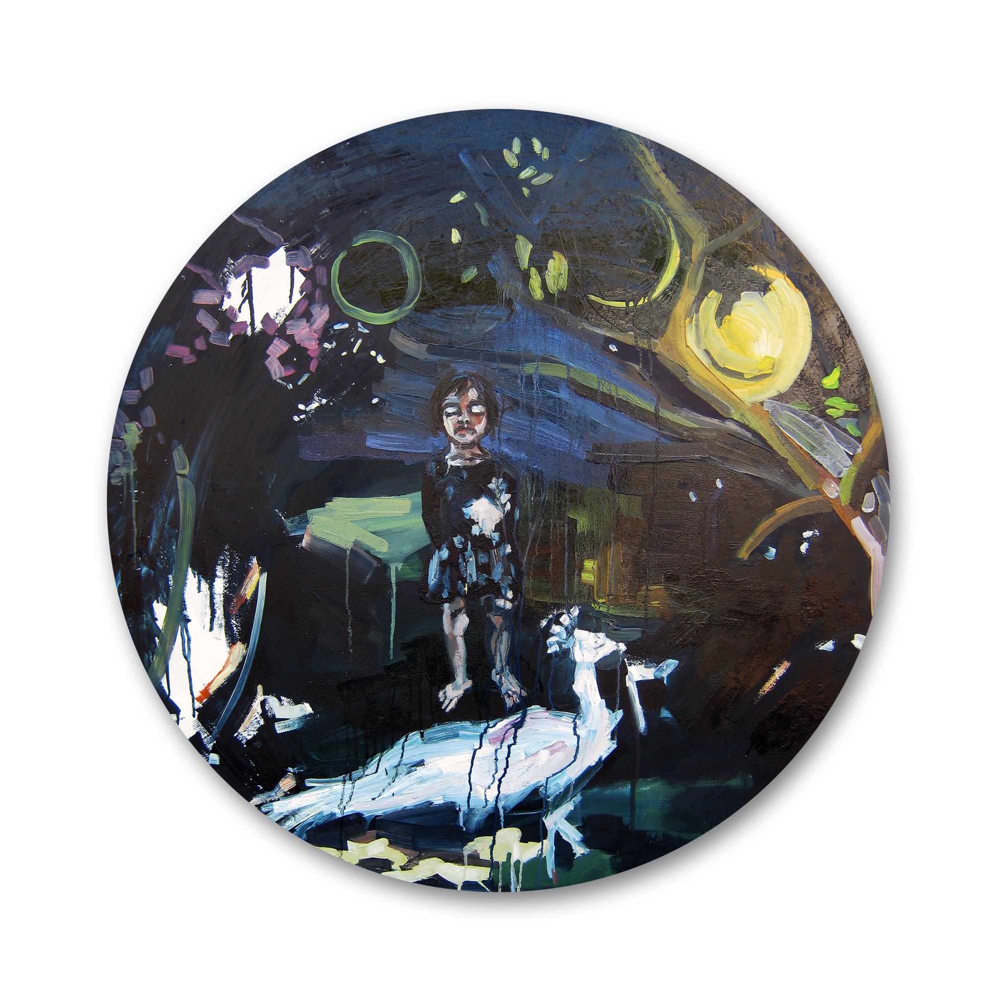 """טליה רז, """"Dream walking"""", שמן על עץ, קוטר: 110 ס""""מ, 2015"""