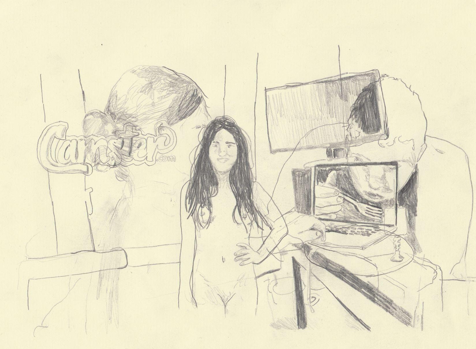 מיה פרי, קאמסטר.קום,  גרפיט על נייר, 2018