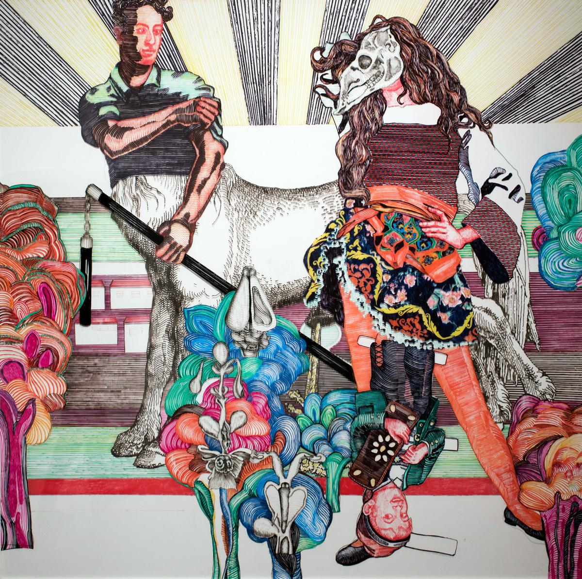 קורניליה רנץ, חדש ישן, טוש פיגמנטי על לוחות פרספקס, 2019 | קרדיט צלם: שי הלוי
