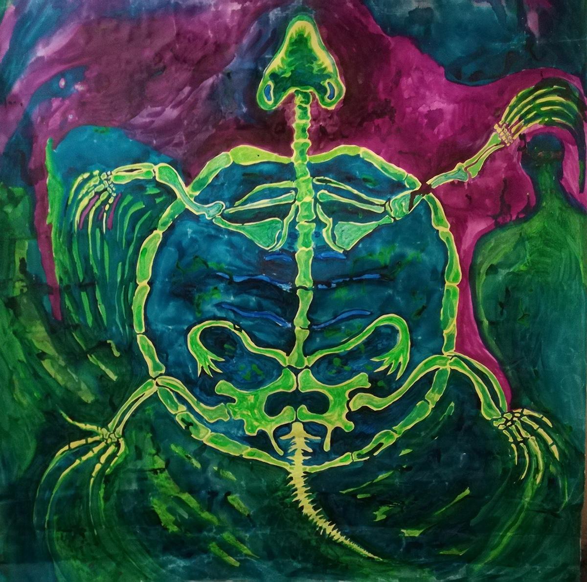 ענבל מנדס פלור, מחול הצבים ,מיצב קיר, צבעי פלורסנט על קנווס, 2019 | קרדיט צילום: באדיבות האמנית