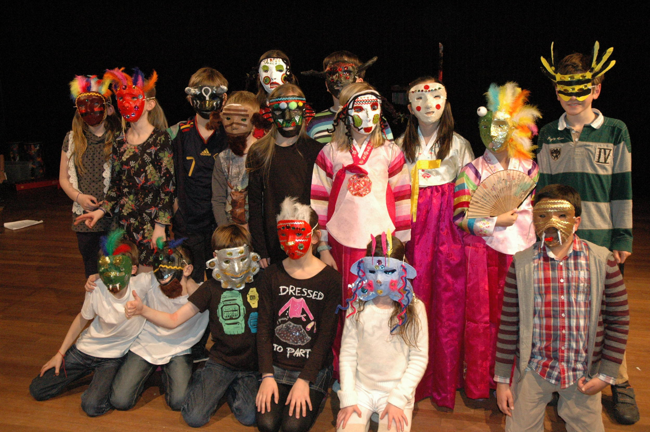 The Arts combined: Students at an IB World School designed and made their own masks (using papier maché, paint, feathers and beads), wrote the play and then performed it.