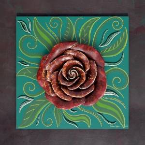 Mandala Rose (2018) Sculpted ceramic rose & leaves, glazed, on matt painted backdrop (acrylic, gouache, gold ink), mounted on painted frame with craquelé finish. Size including frame: (H) 80cm (W) 80cm (D) 9.5cm P.O.A.