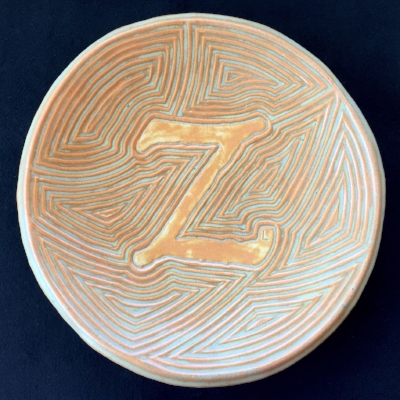 Centrepiece plate with initial Size 31cm diameter, 4.5 cm high SOLD. Similar pieces can be made to order.